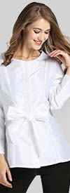 JerryT-SR7178-White - Bow Accent Ladies Long Sleeve Top