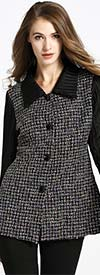 JerryT-SR7183 - Womens Two-Tone Button Up Jacket
