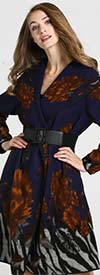 JerryT-SR7209 - Womens Floral Print Belted Coat With Wide Collar