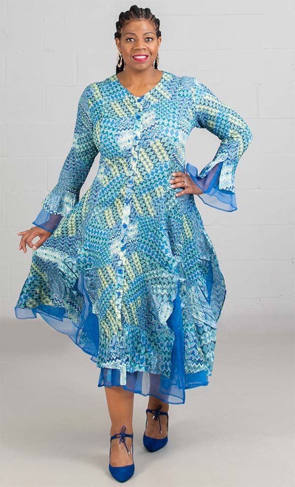 JerryT-SR113-BlueGreen - Womens Long Sleeve Sheer Ruffle Hem Duster Dress