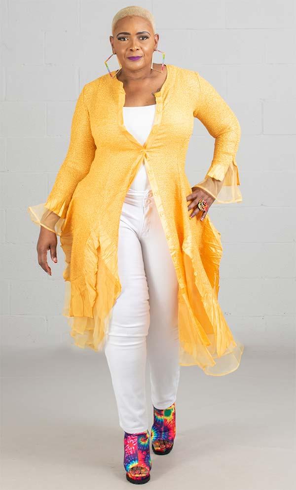 JerryT-SR113-Gold - Womens Long Sleeve Sheer Ruffle Hem Duster Dress