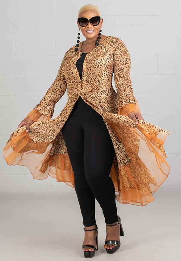 JerryT-SR113-Leopard - Womens Long Sleeve Sheer Ruffle Hem Duster Dress