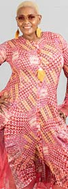 JerryT-SR113-RedPink - Womens Long Sleeve Sheer Ruffle Hem Duster Dress