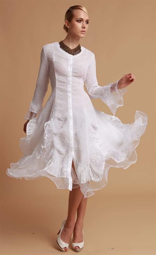 JerryT-SR113-White - Long Sleeve Sheer Ruffle Hem Womens Duster Dress