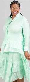 JerryT-SR7151-AquaGreen - Long Sleeve Dress With Ruffle Trim & Handkerchief Hemline