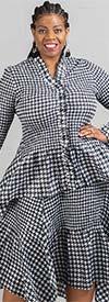 JerryT-SR7151-BlackWhite - Houndstooth Print Long Sleeve Dress With Ruffle Trim & Handkerchief Hemline
