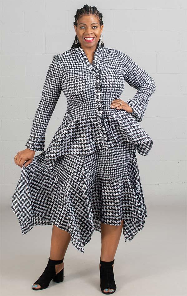 JerryT-SR7151-BlackWhite - Houndstooth Print Long Sleeve 2 Pc Top and Skirt Set With Ruffle Trim & Handkerchief Hemline