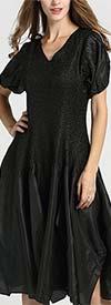 JerryT-SR7171-Black - Handkerchief Hem Dress With Cold Shoulder Sleeve Design
