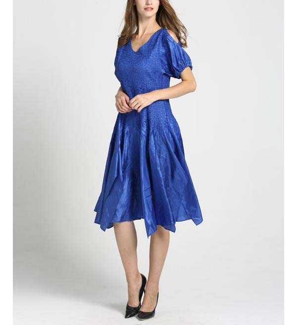 JerryT-SR7171-Blue - Handkerchief Hem Dress With Cold Shoulder Sleeve Design