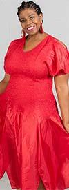 JerryT-SR7171-Red - Handkerchief Hem Dress With Cold Shoulder Sleeve Design