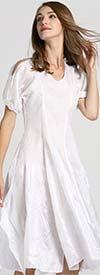 JerryT-SR7171-White - Handkerchief Hem Dress With Cold Shoulder Sleeve Design