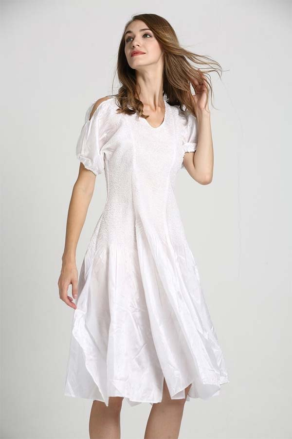 JerryT-SR7171-White - Handkerchief Hem Dress With Cold Shoulder Sleeve Design