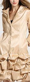 JerryT-SR7176-Champagne - Womens Bubble Hem Design Coat Dress