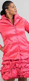 JerryT-SR7176-Red - Womens Bubble Hem Design Coat Dress