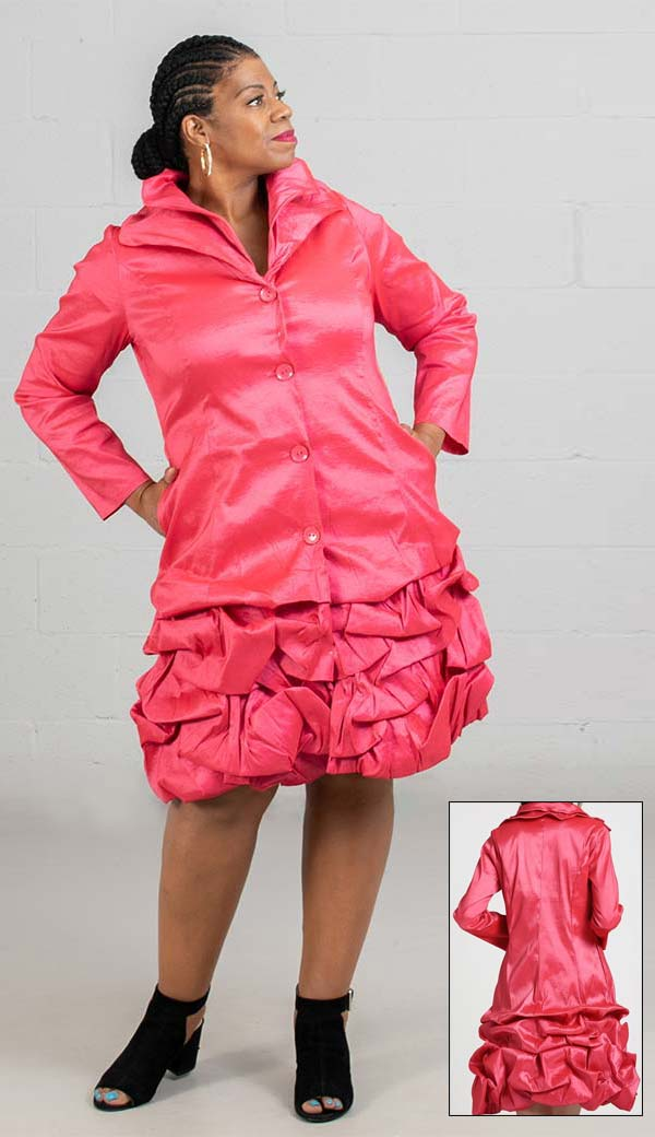 JerryT-SR7176-Red - Womens Bubble Hem Design Coat Dress