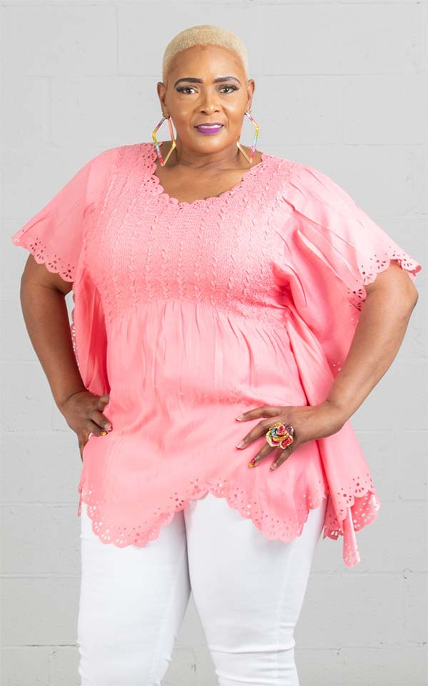 JerryT-SR7186-Coral - Ladies Poncho Top With Scalloped Cut-Out Design Trim