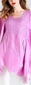 JerryT-SR7186-Pink - Ladies Poncho Top With Scalloped Cut-Out Design Trim