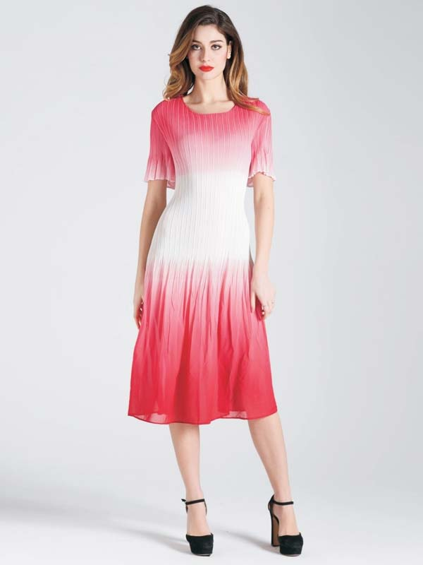 JerryT-SR7194-RedWhite - Ombre Print Pleated Dress With Ruffled Short Sleeves