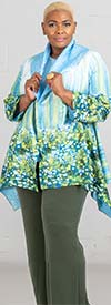 JerryT-SR7198-Green - Womens Crinkle Fabric Floral Print Jacket