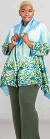 JerryT-SR7198-Green - Womens Crinkle Fabric Floral Print Jacket