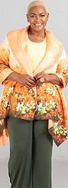 JerryT-SR7198-Orange - Womens Crinkle Fabric Floral Print Jacket