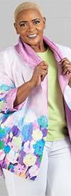 JerryT-SR7198-Purple - Womens Crinkle Fabric Floral Print Jacket