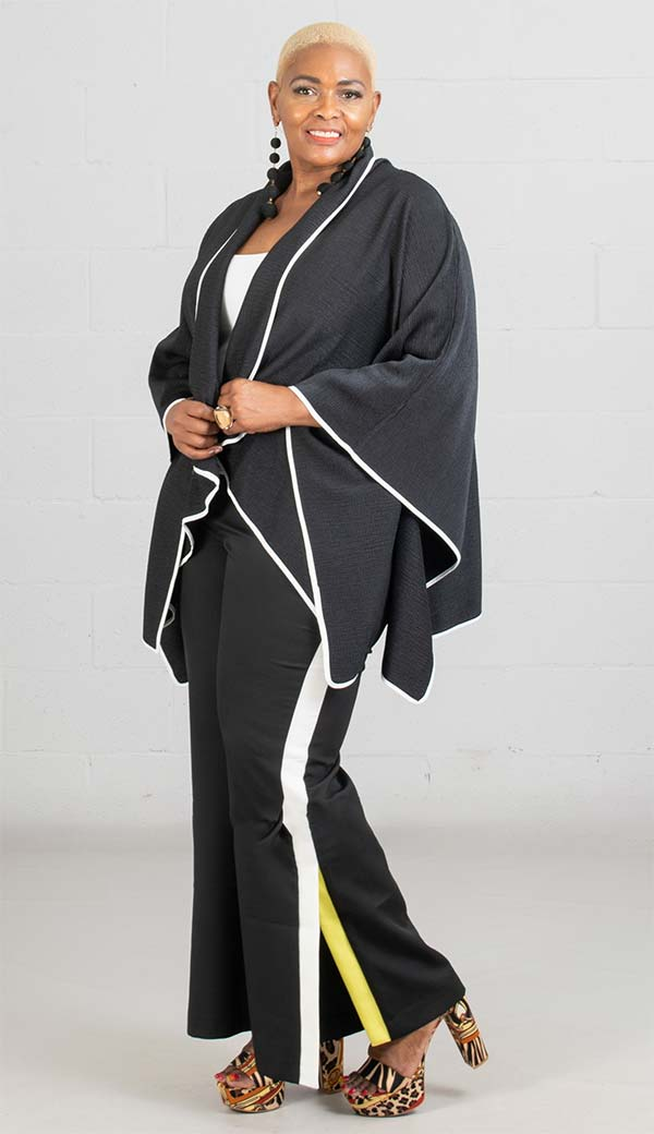 JerryT-SR7200-Black - Crinkle Fabric Cape Style Womens Jacket