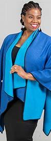 JerryT-SR7200-Blue - Crinkle Fabric Cape Style Womens Jacket