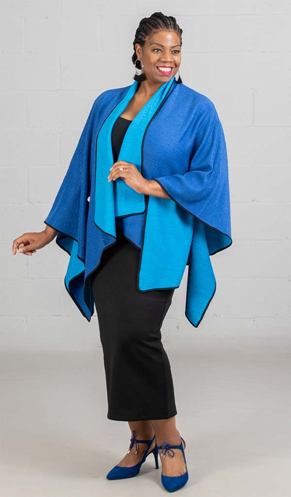 JerryT-SR7200-Blue - Crinkle Fabric Cape Style Womens Jacket