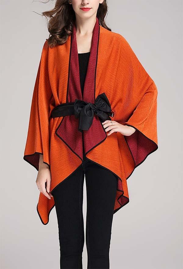 JerryT-SR7200-Orange - Womens Crinkle Fabric Cape Style Jacket
