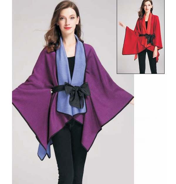 JerryT-SR7200-Purple - Womens Crinkle Fabric Cape Style Jacket