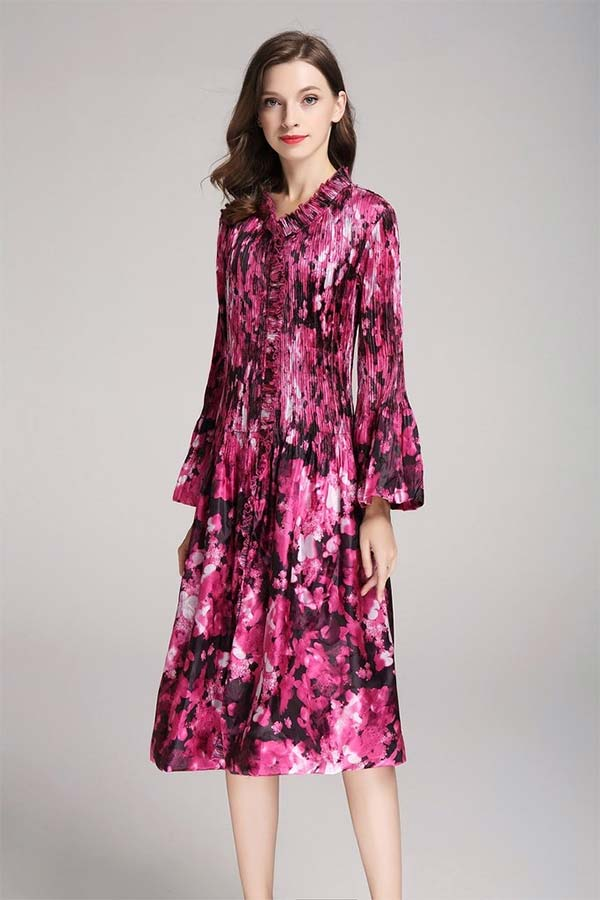 JerryT-SR7206-Pink - Crinkle Print Flared Longsleeve Dress With Ruffled Necklne