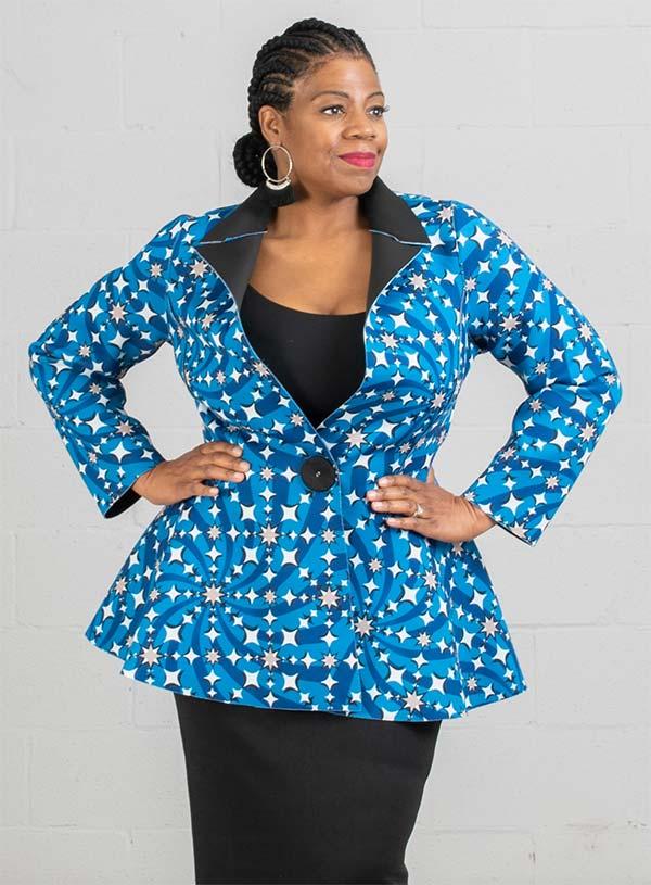 JerryT-SR7211-BlueBlack - Scuba Fabric Womens Print Design Notch Lapel Jacket