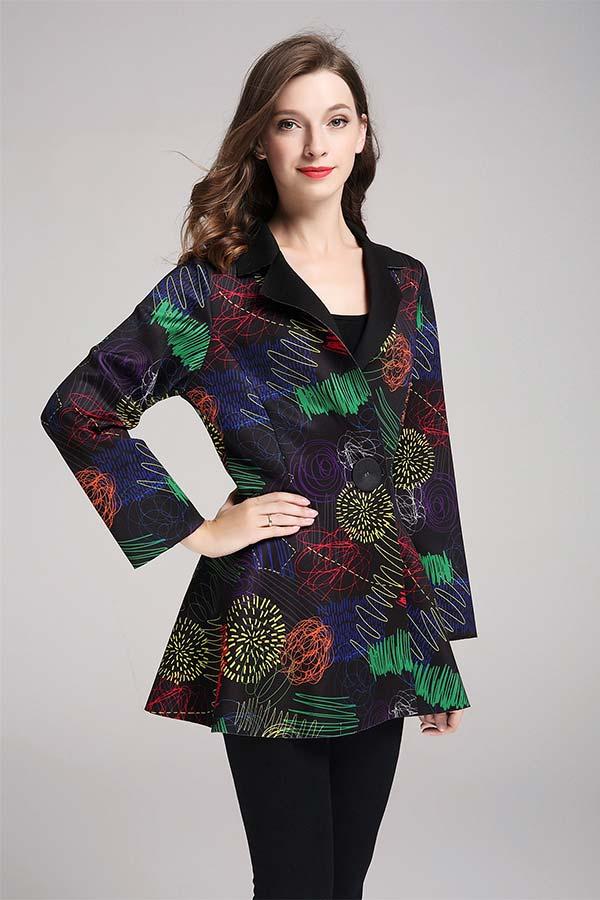 JerryT-SR7211-MultiFlower - Scuba Fabric Womens Print Design Notch Lapel Jacket