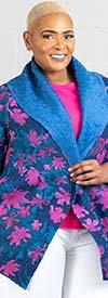 JerryT-SR7212-NavyFuchsia - Womens Reversible Print Design Wide Lapel Jacket
