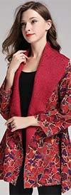JerryT-SR7212-RedPrint - Womens Reversible Print Design Wide Lapel Jacket