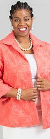 JerryT-SR7216-Coral - Womens Jacket In Floral Texture Design