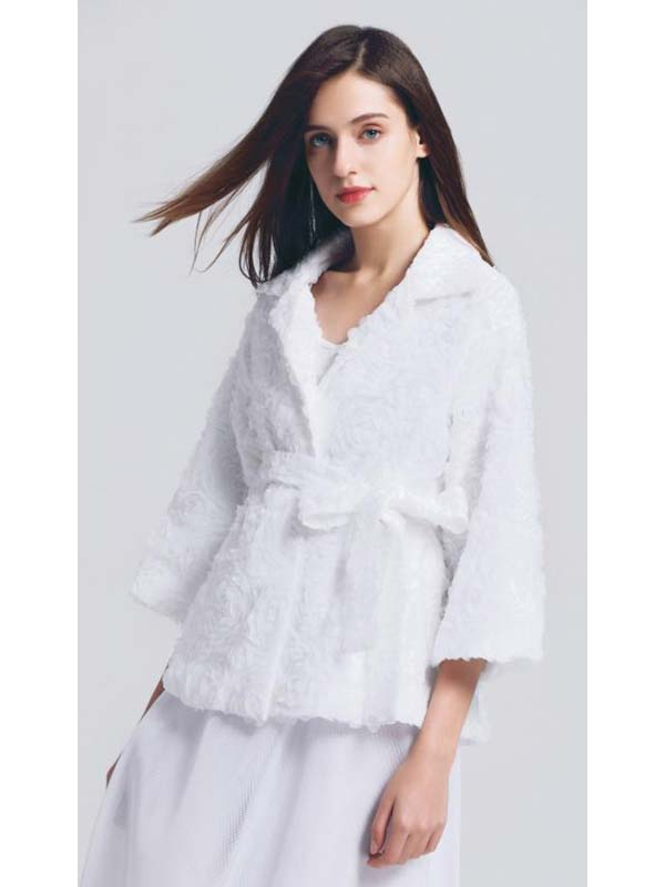 JerryT-SR7216-White - Floral Texture Design Womens Jacket
