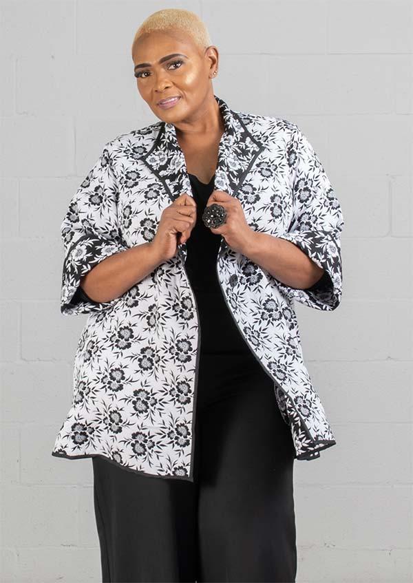 JerryT-SR7217 - Womens Reversible Floral Print Design Diamond Lapel Jacket