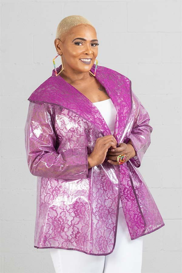 JerryT-SR7223-Purple - Womens Waterproof Sheer Raincoat