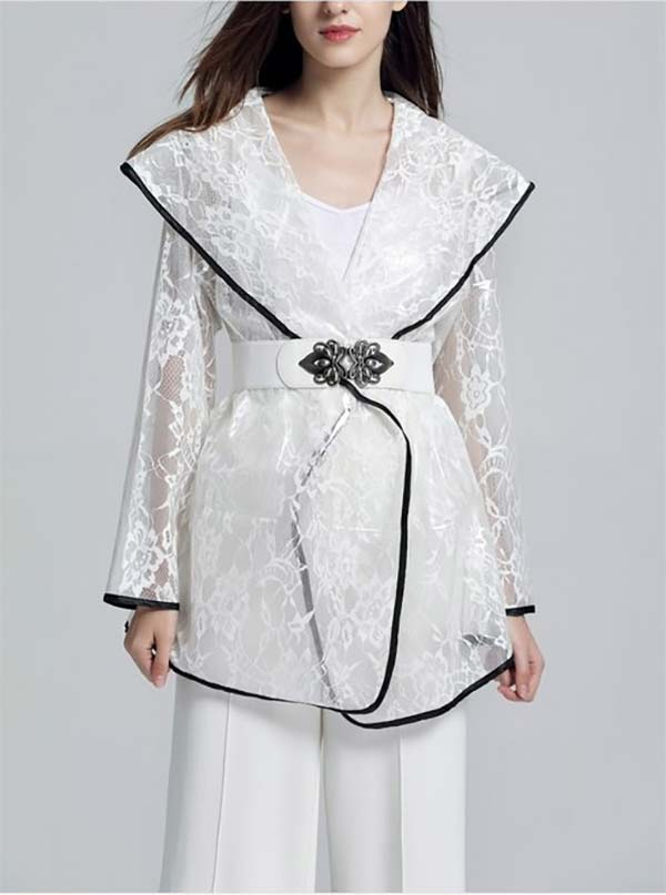 JerryT-SR7223-White - Womens Waterproof Sheer Raincoat