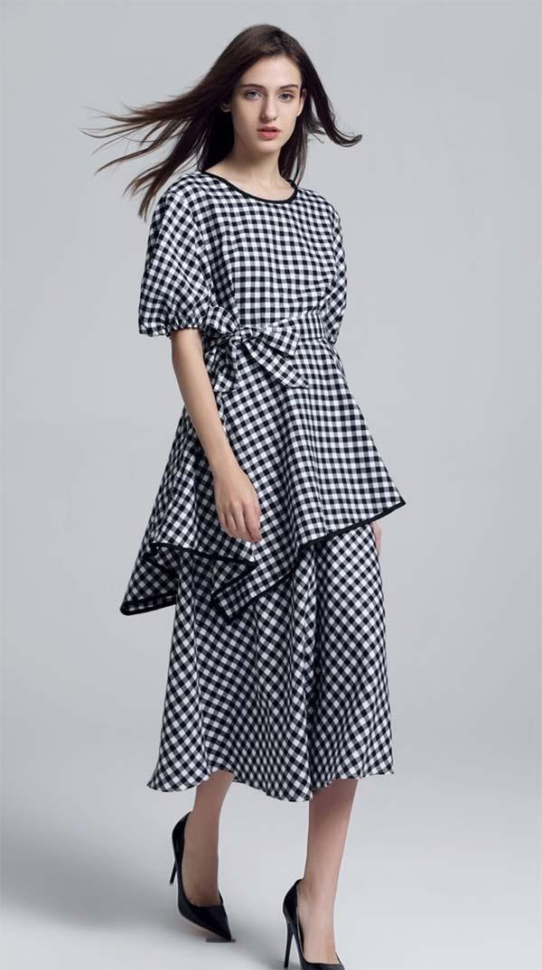JerryT-SR7227-BlackWhite - Dress With Asymmetric Hem Top And Gathered Cuff Sleeves