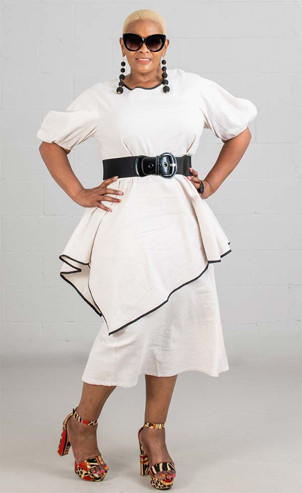 JerryT-SR7227-Cream - Dress With Asymmetric Hem Top And Gathered Cuff Sleeves