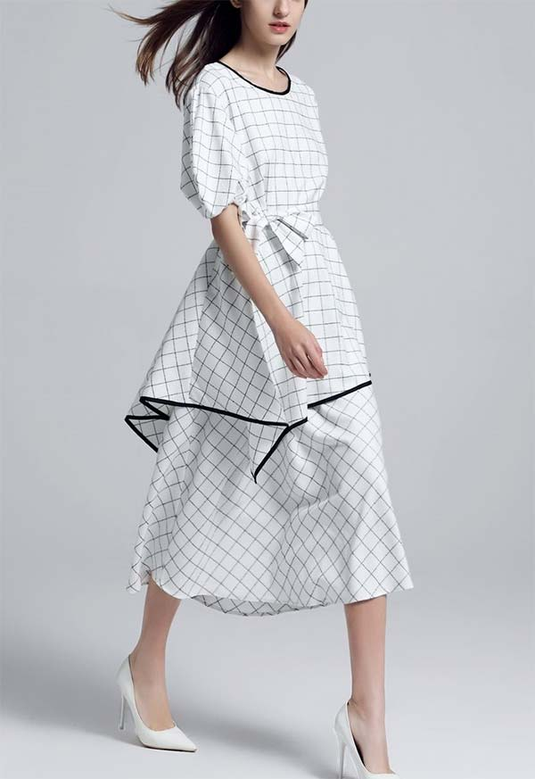 JerryT-SR7227-White - Dress With Asymmetric Hem Top And Gathered Cuff Sleeves