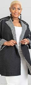 JerryT-SR7235-Black - Womens Cardigan With Crinkle Stripe Trim