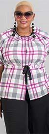 JerryT-SR7226-OffWhitePink - Ladies Top With Tie Waist Feature