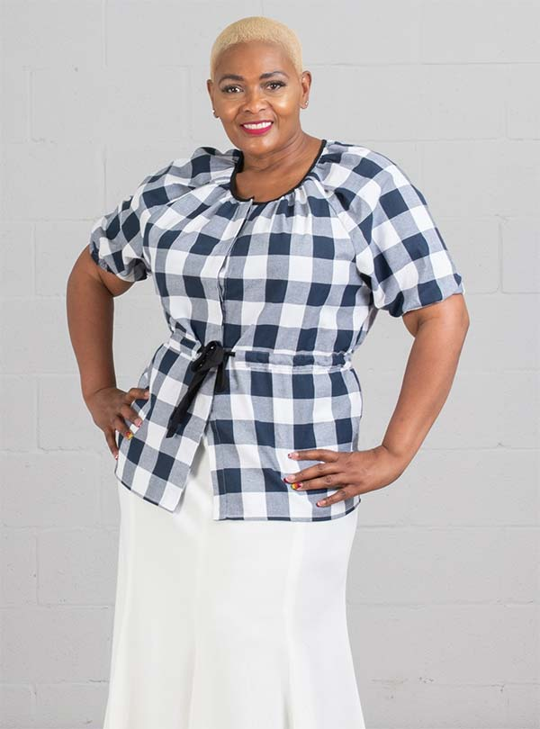 JerryT-SR7226-NavyWhite - Ladies Top With Tie Waist Feature
