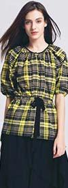 JerryT-SR7226-YellowBlack - Ladies Top With Tie Waist Feature