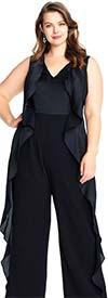 Adrianna Papell AP1E203814 Womens Sleeveless V-Neck Side Ruffle Jumpsuit