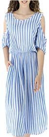 Fashion Apparel FT82203-Blue - Cold-Shoulder Crop Style Womens Striped Jumpsuit